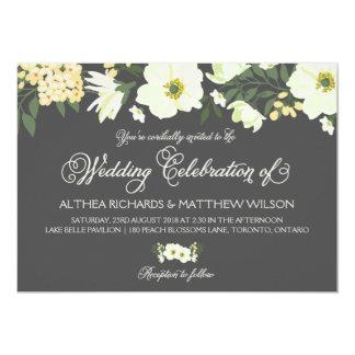 Yellow Pretty Anemones Floral Wedding IV Card