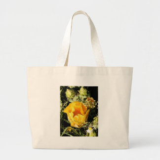 Yellow Prickle Pear Cactus Bloom Photo Art Bags