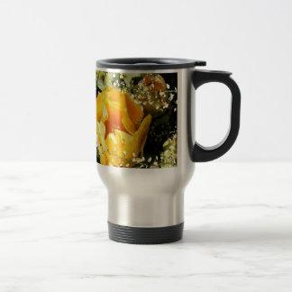 Yellow Prickle Pear Cactus Bloom Photo Art Travel Mug