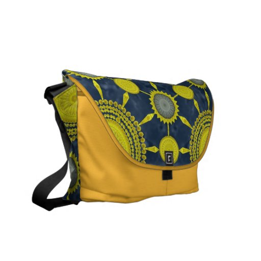 Yellow Prickly Pear Mandala Array Messenger Bag