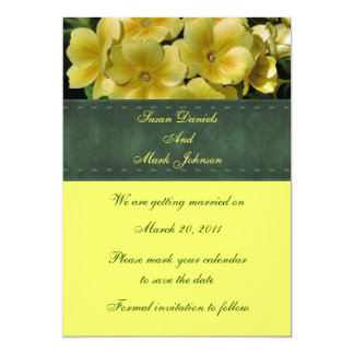Yellow Primrose Floral Wedding Save The Date 5x7 Paper Invitation Card