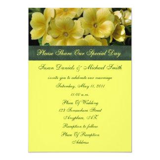 "Yellow Primrose Flower Wedding Invitation 5"" X 7"" Invitation Card"