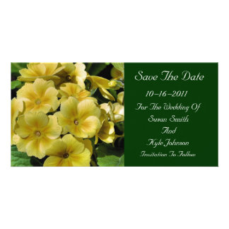 Yellow Primrose Flower Wedding Save The Date Card
