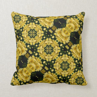 Yellow Primrose Flowers Abstract Design Pillow