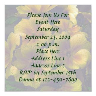 "Yellow Primrose Flowers Invitation 5.25"" Square Invitation Card"