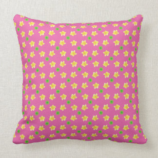 Yellow Primroses and Green Polka Dots on Pink Throw Pillow