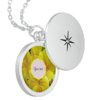 Yellow Primroses Sterling Silver Necklace