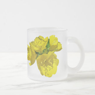 Yellow Primroses - Sundrops Frosted Glass Coffee Mug