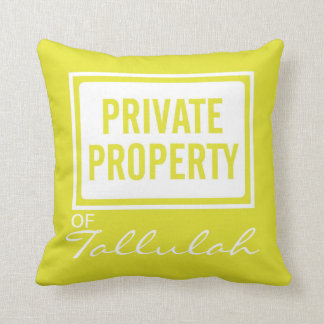 Yellow Private Property Personalized Pillow