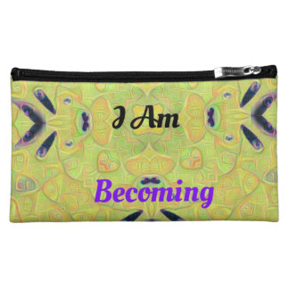 "Yellow Psychedelic ""I Am Becoming"" Novel Makeup Ba Makeup Bag"