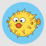 Yellow Puffer Fish Classic Round Sticker