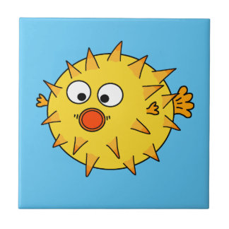 Yellow Puffer Fish Ceramic Tiles