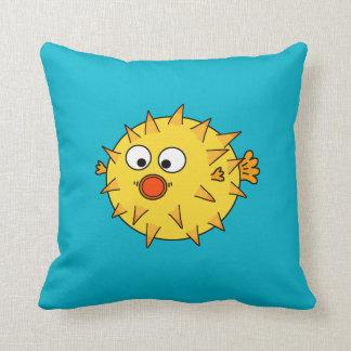 Yellow Pufferfish Throw Pillows