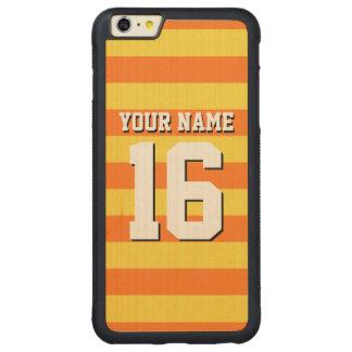 Yellow Pumpkin Orange Team Jersey Preppy Stripe Carved Maple iPhone 6 Plus Bumper Case