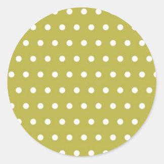 yellow pünktchen polka dots hots scores dab krei classic round sticker