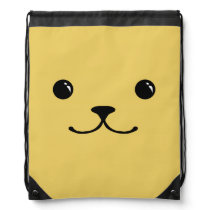 Yellow Puppy Cute Animal Face Design Drawstring Bag
