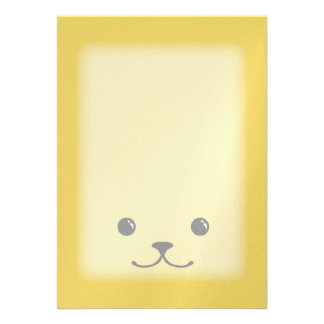 Yellow Puppy Cute Animal Face Design Personalized Announcement