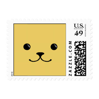 Yellow Puppy Cute Animal Face Design Postage Stamp
