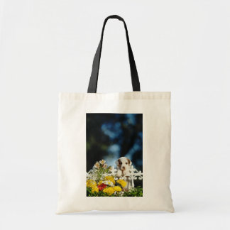 Yellow Puppy with brown ears looking over iron fen Budget Tote Bag