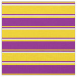 [ Thumbnail: Yellow, Purple & Beige Striped/Lined Pattern Fabric ]