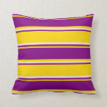 [ Thumbnail: Yellow, Purple & Beige Striped/Lined Pattern Throw Pillow ]