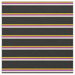 [ Thumbnail: Yellow, Purple, Bisque, and Black Pattern Fabric ]