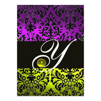 YELLOW PURPLE BLACK DAMASK MONOGRAM TOPAZ CARD