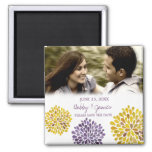 Yellow & Purple Bloom Save the Date Wedding Magnet