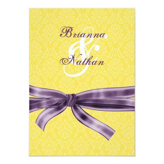 Yellow & Purple Damask & Bow Wedding Invitation
