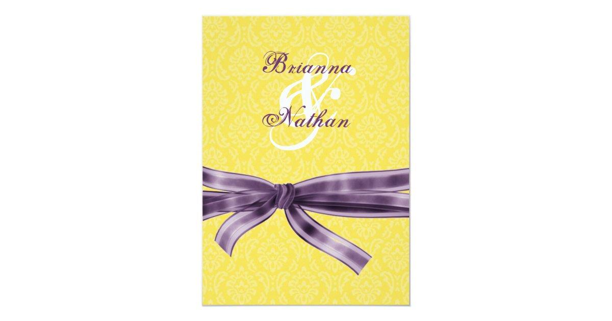 Yellow Amp Purple Damask Amp Bow Wedding Invitation
