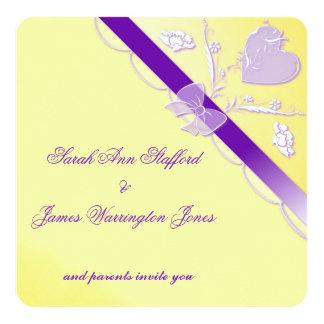 Yellow/Purple Elegant Lace Wedding Invitation Card