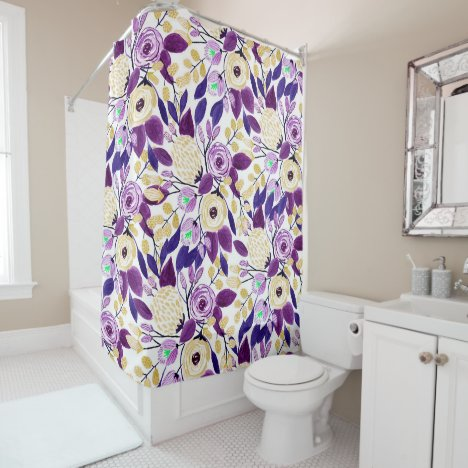Yellow Purple Floral Bouquet Watercolor Pattern Shower Curtain