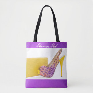 Yellow Purple Floral High Heel Clutch Tote Bag