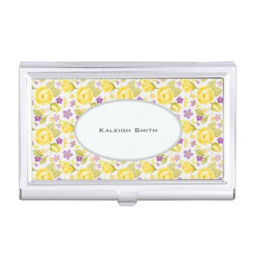 Professional Business Yellow Purple Floral on White Personalized Business Card Case