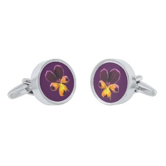 Yellow Purple Floral Pansy Flower Cufflinks