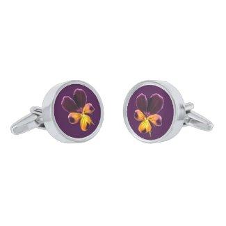 Yellow Purple Floral Pansy Flower Cufflinks