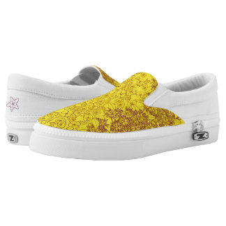 Yellow & Purple Floral Print by Aleta Slip-On Sneakers