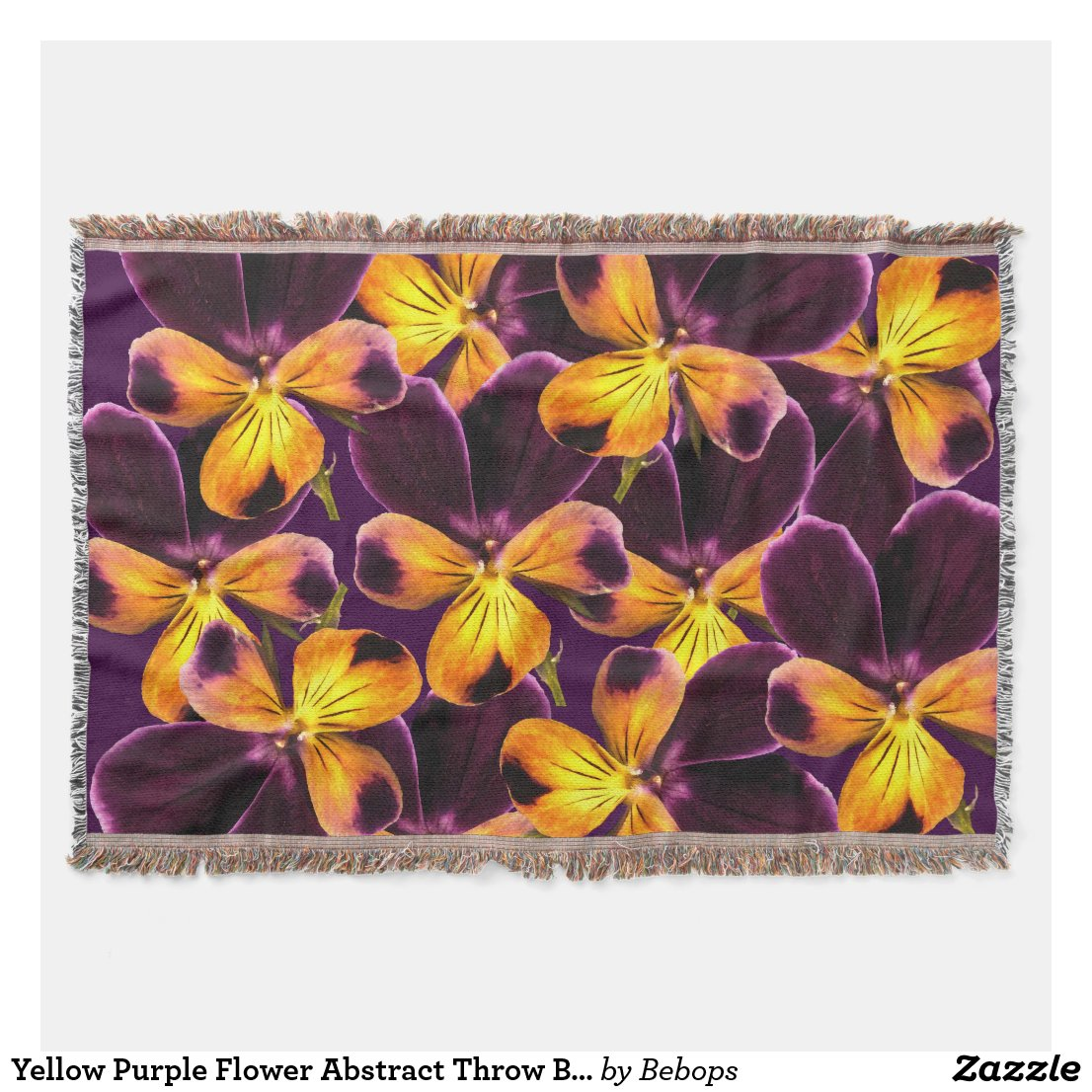 Yellow Purple Flower Abstract Throw Blanket