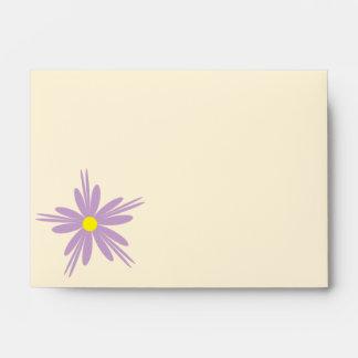 Yellow Purple Flower Design Envelope