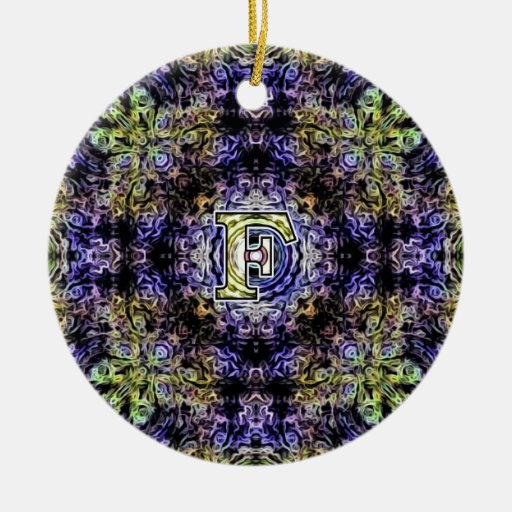 Yellow Purple Fractal Electricity F Double-Sided Ceramic Round Christmas Ornament