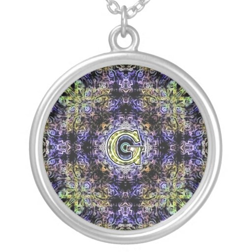 Yellow Purple Fractal Electricity G Round Pendant Necklace