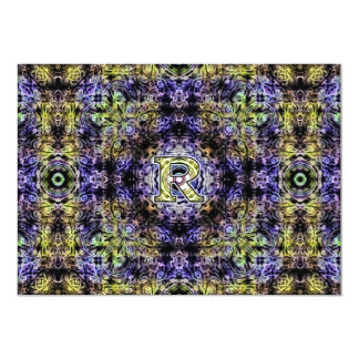 Yellow Purple Fractal Electricity R Card
