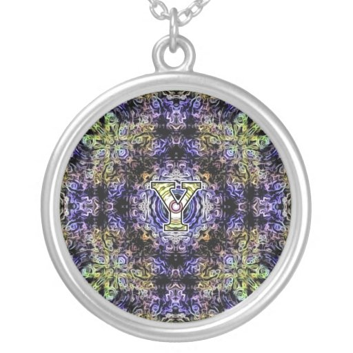 Yellow Purple Fractal Electricity Y Round Pendant Necklace