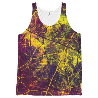Yellow Purple Green Crackle Lacquer Grunge Texture All-Over Print Tank Top