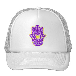 Yellow Purple Hamsa-Hand of Miriam-Hand of Fatima Trucker Hat