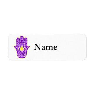 Yellow Purple Hamsa-Hand of Miriam-Hand of Fatima. Return Address Labels