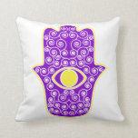 Yellow Purple Hamsa-Hand of Miriam-Hand of Fatima. Pillows
