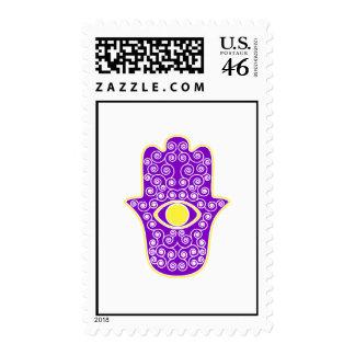 Yellow Purple Hamsa-Hand of Miriam-Hand of Fatima. Stamp