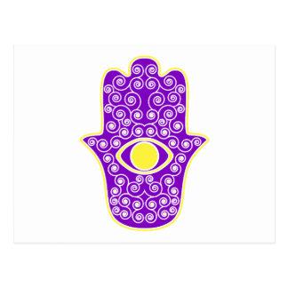 Yellow Purple Hamsa-Hand of Miriam-Hand of Fatima. Post Card