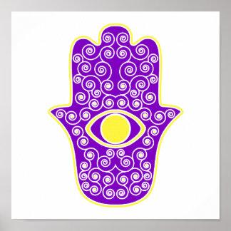 Yellow Purple Hamsa-Hand of Miriam-Hand of Fatima. Posters